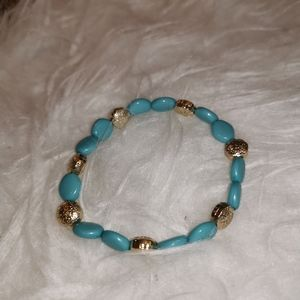 Blue & Gold Tone bead bracelet